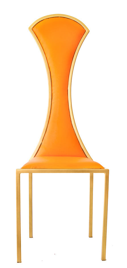 The Contour - Gold Effect Metal Frame with Mandarin Leather Chair