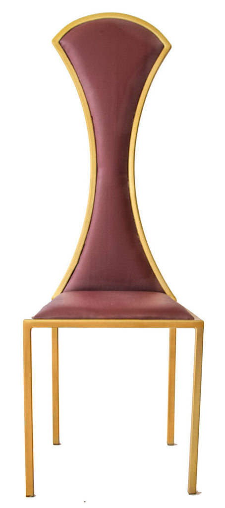 The Contour - Gold Effect Metal Frame with Mulberry Leather Chair