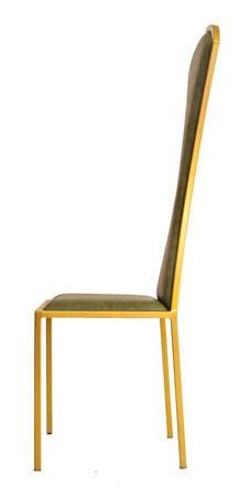 The Contour - Gold Effect Metal Frame with Olive Leather Chair
