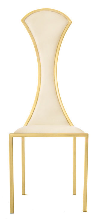 The Contour - Gold Effect Metal Frame with White Leather Chair