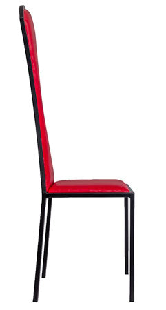 The Contour - Black Metal Frame with Flame Red Leather Chair