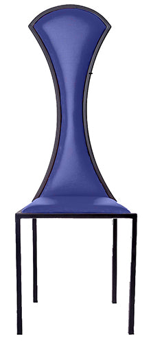 The Contour - Black Metal Frame with Kingfisher Blue Leather Chair