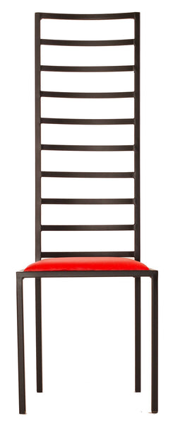 The Escalade - Tall Black Metal Frame with Flame Red Leather