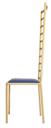 The Escalade - Tall Gold Effect Metal Frame with Kingfisher Blue Leather
