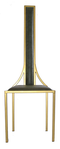 The Manhattan - Gold Effect Metal Frame with Olive Leather Chair