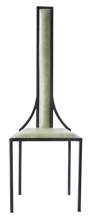 The Manhattan - Black Metal Frame with Olive Wine Leather Chair