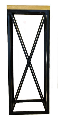 Black Metal 'Cross' Frame Hall Table with Solid Oak Top