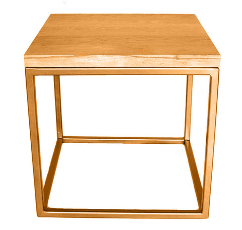 Gold Effect Metal Frame Side Table with Solid Oak Top