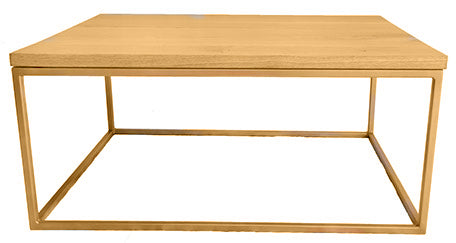 Gold Effect Metal Frame Coffee Table with Solid Oak Top