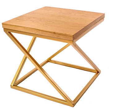 Gold Effect 'Z' Frame Metal Side Table with Solid Oak Top