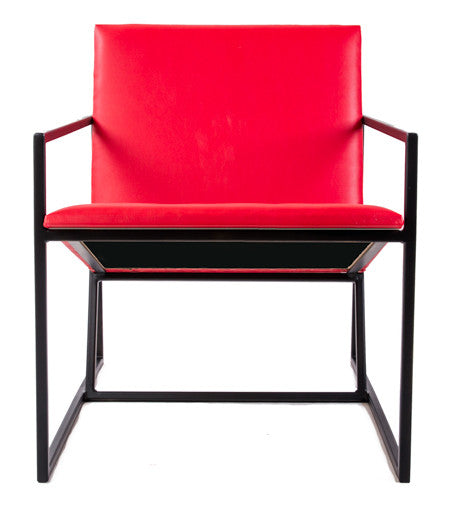 The Gravity Chair - Black Frame - Flame Red Leather Chair