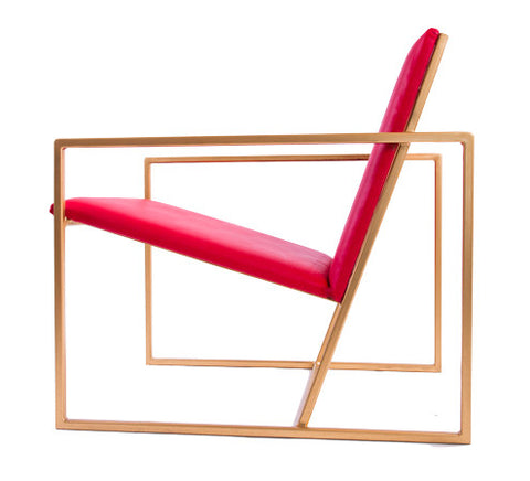 The Gravity Chair - Gold Effect Frame - Flame Red Leather Chair