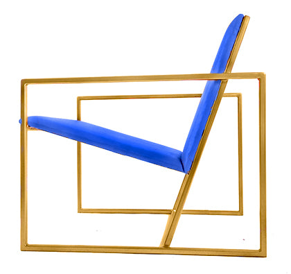 The Gravity Chair - Gold Effect Frame - Kingfisher Blue Leather Chair