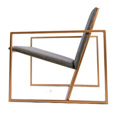 The Gravity Chair - Gold Effect Frame - Olive Leather Chair