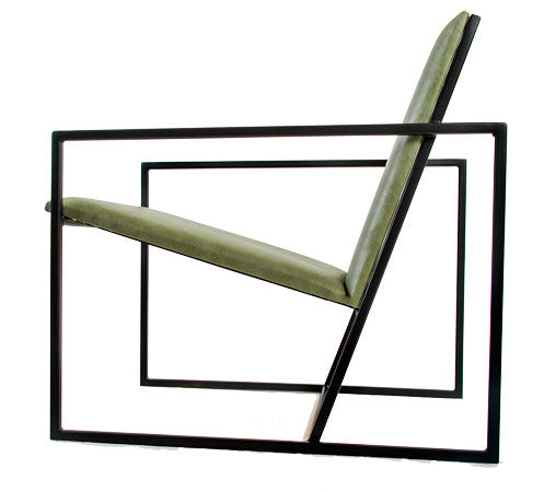 The Gravity Chair - Black Frame - Olive Leather Chair