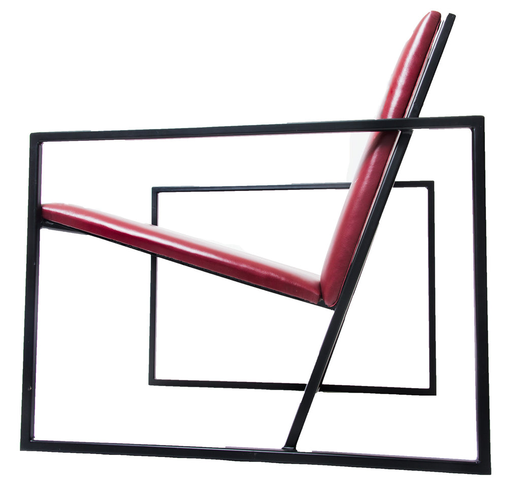 The Gravity Chair - Black Frame - Admiral Red Leather Chair