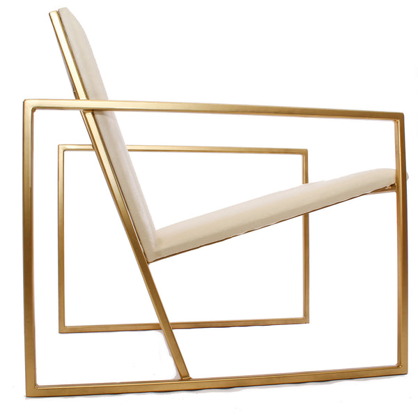 The Gravity Chair - Gold Effect Frame - White Leather Chair