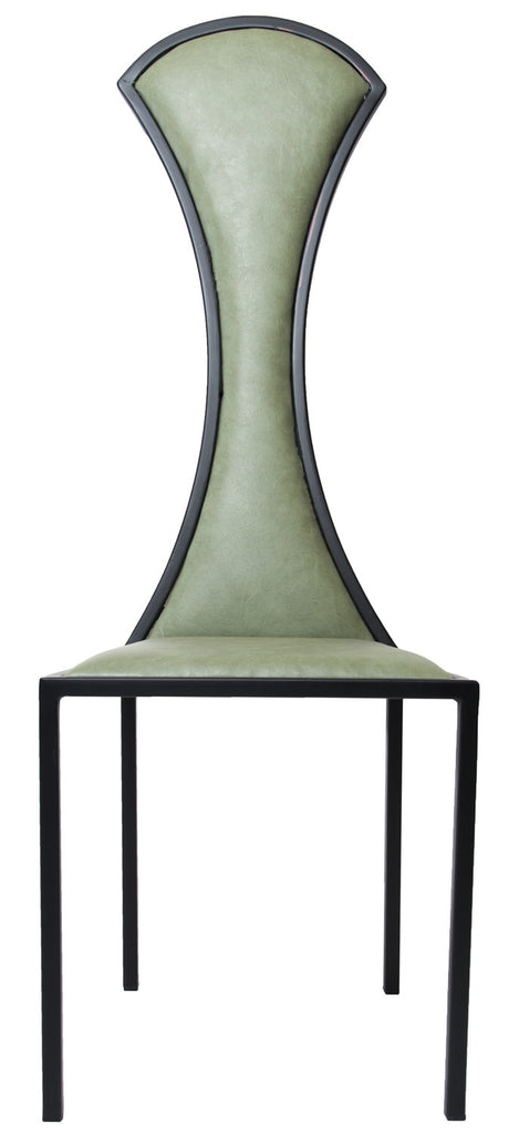 The Contour - Black Metal Frame, Olive Leather Chair