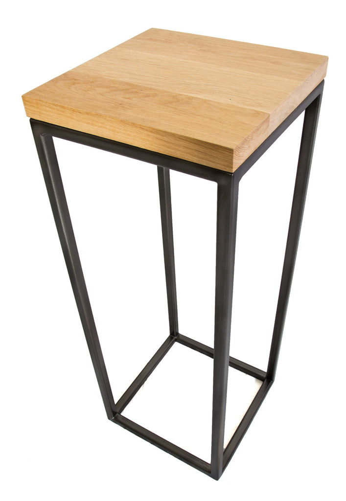 Black Standard Frame Metal Hall Table with Solid Oak Top