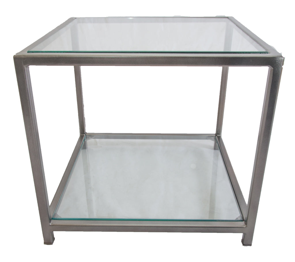 Gun Metal Grey Square Metal Frame with Glass Top and Bottom Shelves