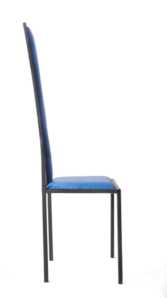 The Manhattan - Black Metal Frame with Kingfisher Blue Leather Chair