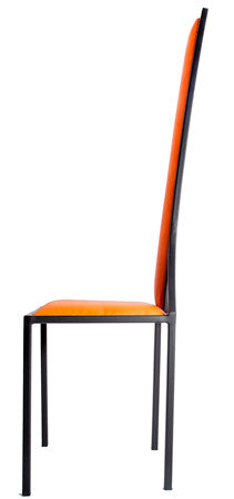 The Manhattan - Black Metal Frame with Mandarin Leather Chair