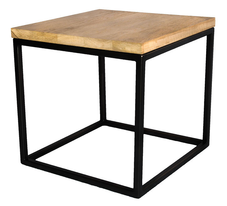 Square Black Cube Metal Frame Side Table with Solid Oak Top