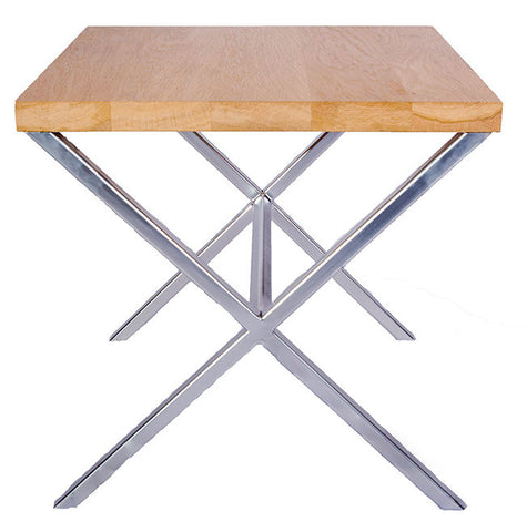 Chrome Effect X Frame Metal Side Table with Solid Oak Top