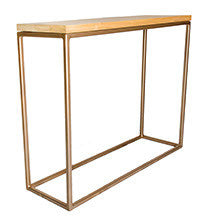 Gold Effect Metal Frame with Soild Oak Top Console Table