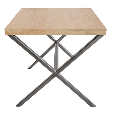 Gun Metal Grey Metal Frame X Frame Side Table with Solid Oak Top
