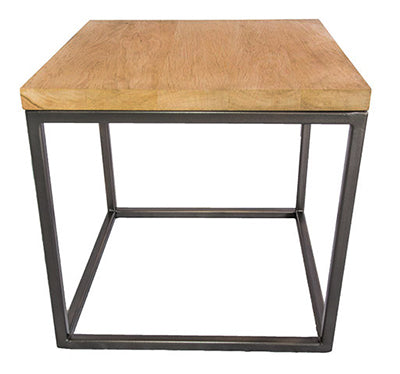 Gun Metal Grey Metal Frame Side Table with Solid Oak Top