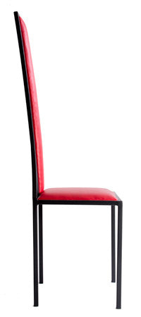 The Manhattan - Black Metal Frame with Flame Red Leather Chair