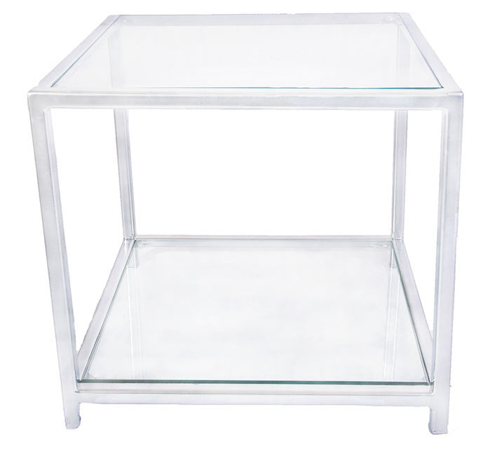Chrome Effect 'Standard' Cube Metal Frame Side Table with Glass Top and Bottom Shelves