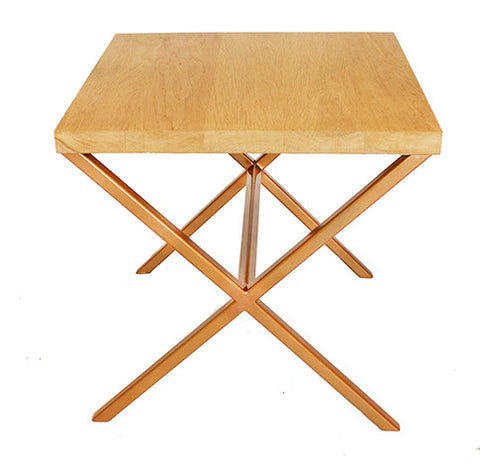 Gold Effect X Frame Metal Side Table with Solid Oak Top