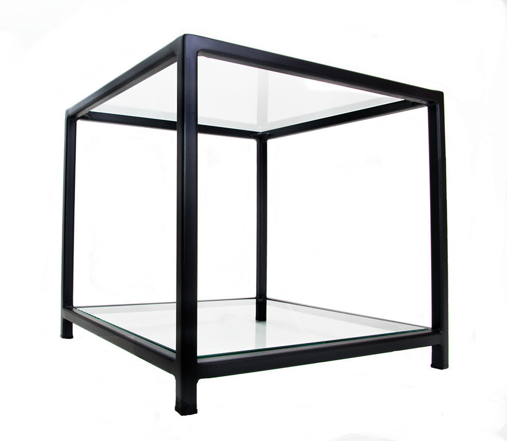 Black Square U0027Standardu0027 Cube Frame Side Table With Glass Top And Bottom  Shelves