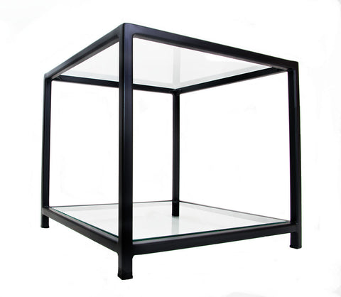 Black Square 'Standard' Cube Frame Side Table with Glass Top and Bottom Shelves