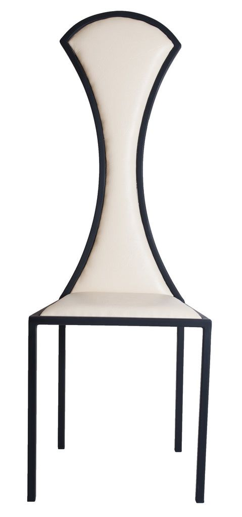The Contour - Black Metal Frame with White Leather Chair