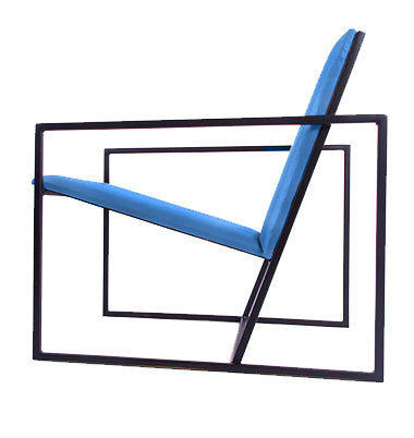 The Gravity Chair - Black Frame - Kingfisher Blue Leather Chair