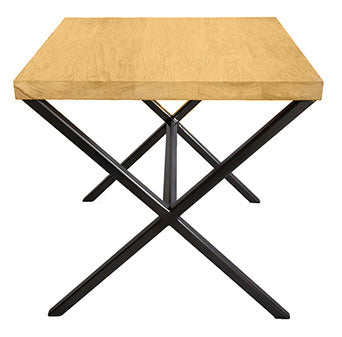 Black Metal Frame X Side Table with Solid Oak Top