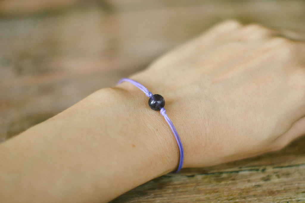 Amethyst bracelet for women, February birthstone, purple cord, adjustable