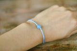 Aquamarine bracelet for women, March birthstone, blue cord, adjustable