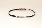 Black cord bracelet for men, three silver beads