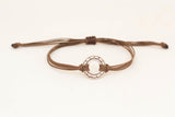 Adjustable silver karma circle bracelet for men, brown cord, yoga jewelry - shani-adi-jewerly