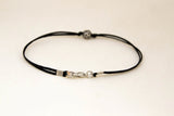 Silver round bead bracelet for men, black cord - karma bracelet