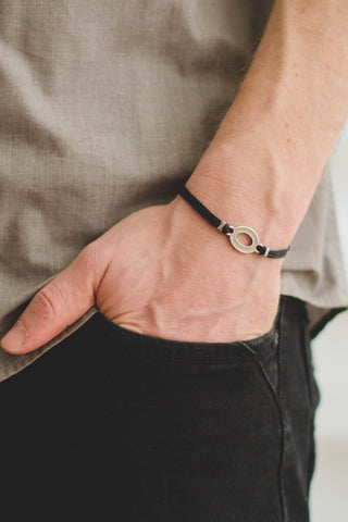 Bracelet for men, silver oval charm, black cord - shani-adi-jewerly