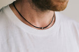 Silver Karma bead necklace for men, black cord - shani-adi-jewerly
