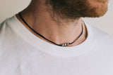 Black cord necklace for men, three silver beads, gift for him - shani-adi-jewerly