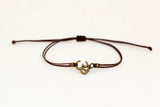 Men's bracelet with bronze Om charm, brown cord - shani-adi-jewerly