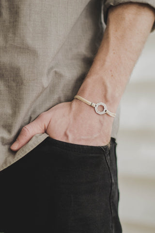 Bracelet for men, silver hexagon charm bracelet for him, beige cord, fathers day gift for him - shani-adi-jewerly