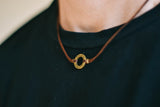 Bronze circle Believe necklace for men, brown cord, mens jewelry - shani-adi-jewerly